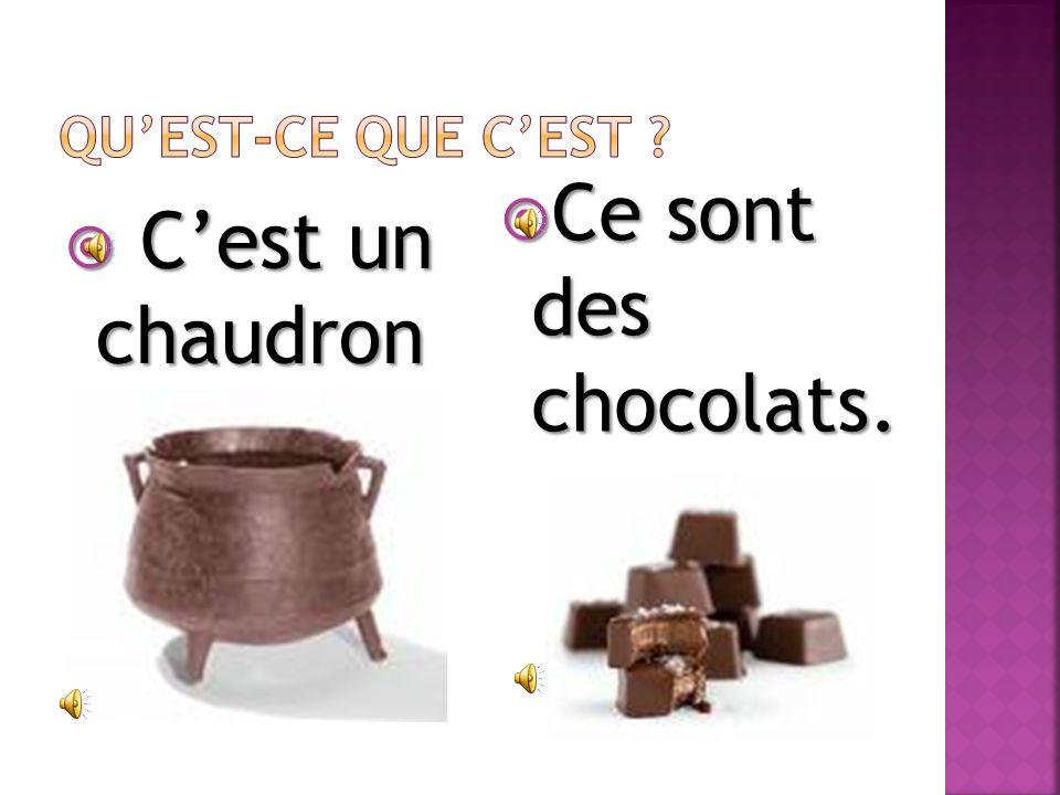 Cest un chaudron. Cest un chaudron. Ce sont des chocolats. Ce sont des chocolats.