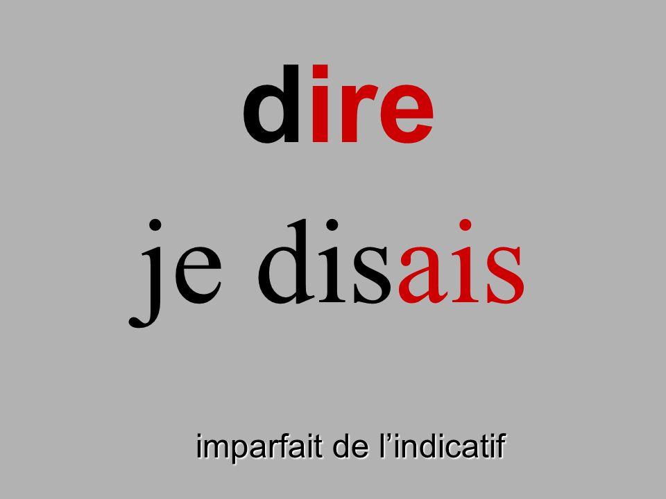 dire imparfait de lindicatif