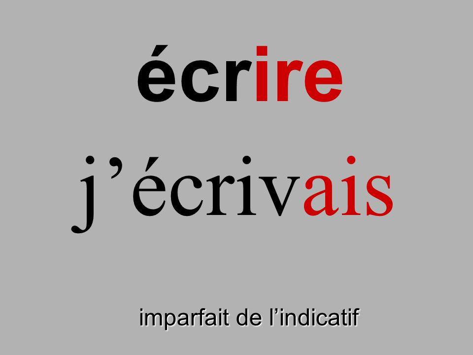 écrire imparfait de lindicatif