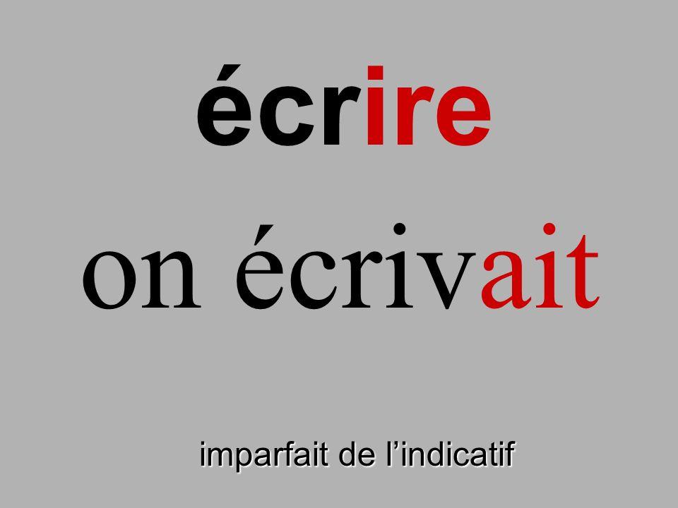 imparfait de lindicatif on écrivait écrire