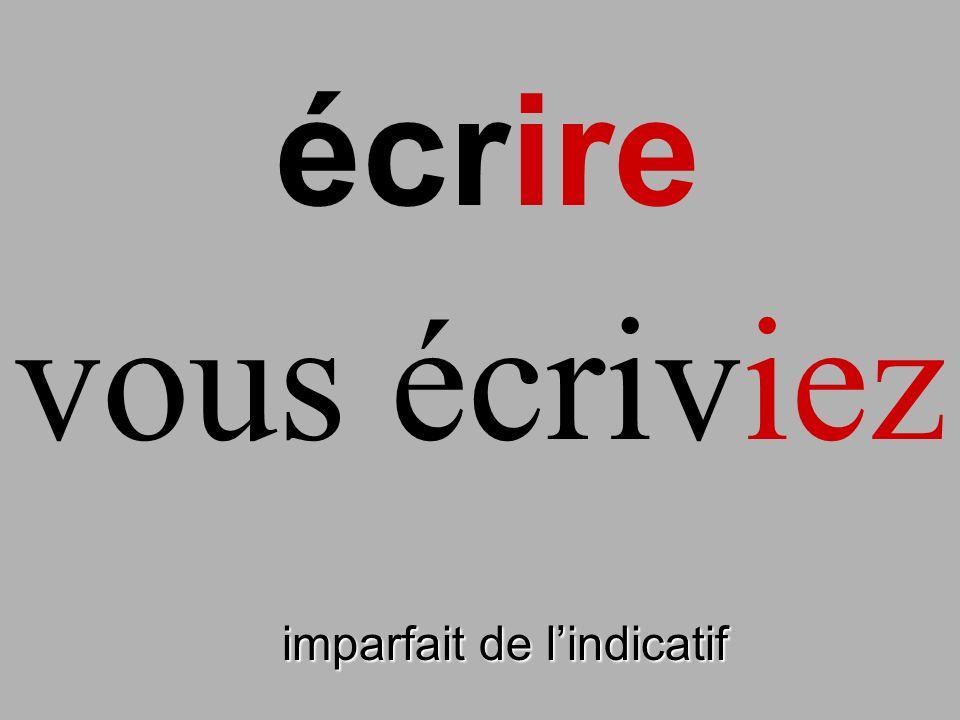 imparfait de lindicatif vous écriviez écrire