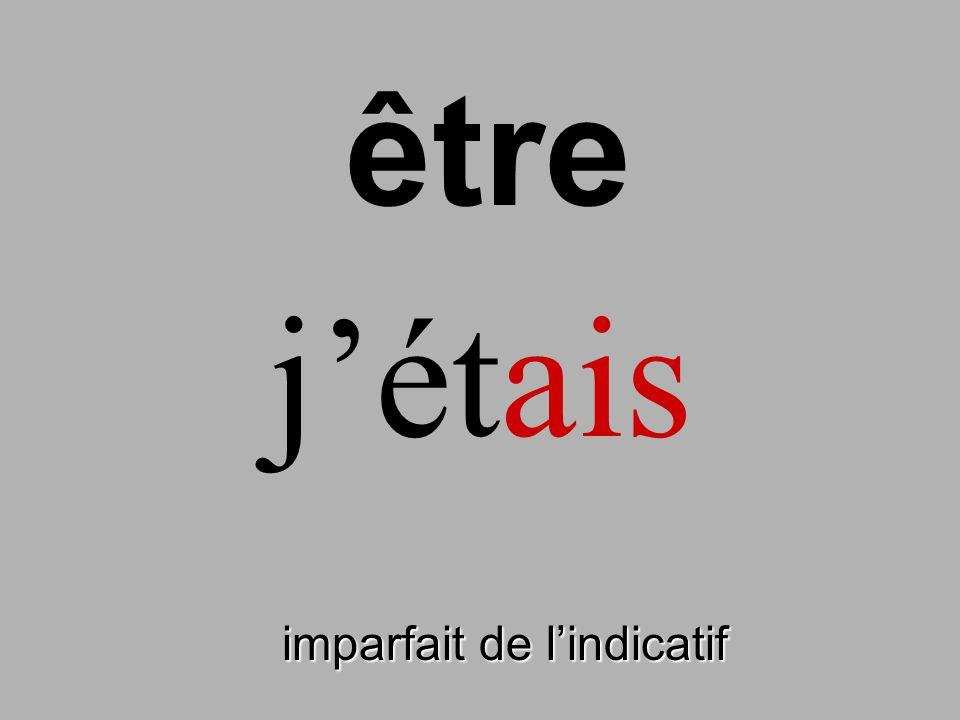 imparfait de lindicatif jétais être