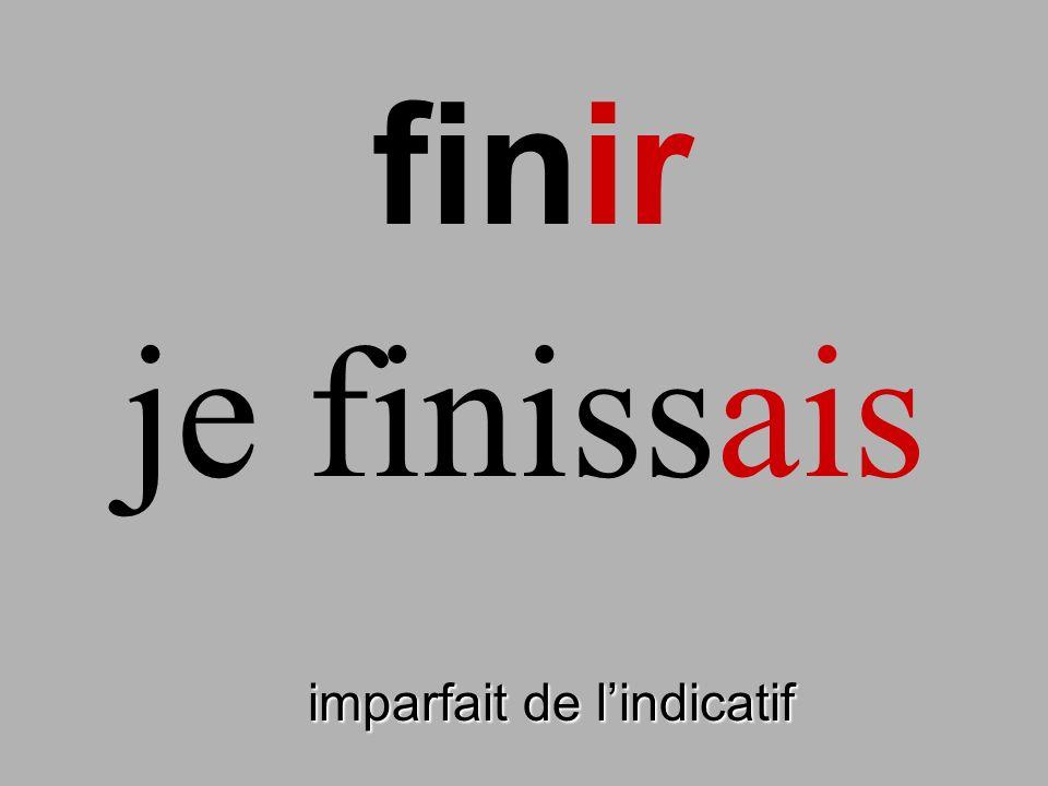 finir imparfait de lindicatif