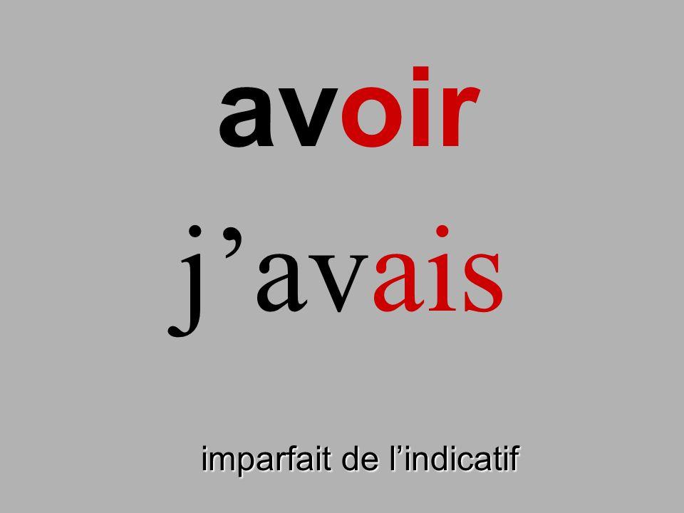 avoir imparfait de lindicatif