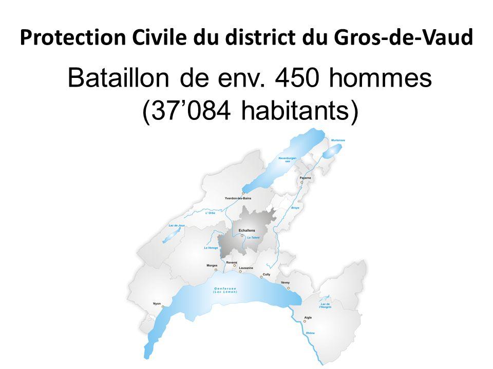 Protection Civile du district du Gros-de-Vaud Bataillon de env. 450 hommes (37084 habitants)