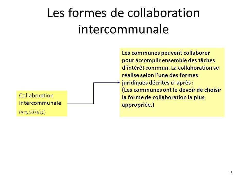 31 Les formes de collaboration intercommunale Collaboration intercommunale (Art. 107a LC) Les communes peuvent collaborer pour accomplir ensemble des