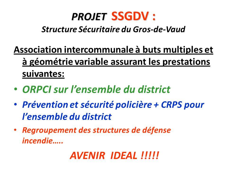 PROJET SSGDV : PROJET SSGDV : Structure Sécuritaire du Gros-de-Vaud Association intercommunale à buts multiples et à géométrie variable assurant les p