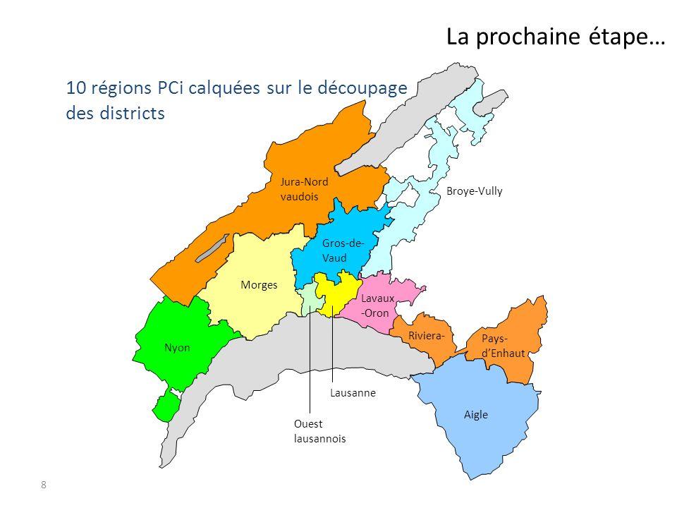 8 La prochaine étape… 10 régions PCi calquées sur le découpage des districts Aigle Riviera- Pays- dEnhaut Lavaux -Oron Lausanne Ouest lausannois Nyon