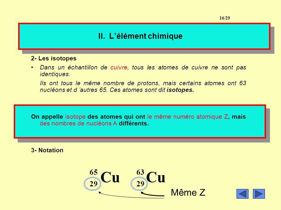 II. Lélément chimique 1- Définition de lélément chimique On donne le nom délément chimique à l ensemble des entités chimiques (atomes, isotopes, ions)