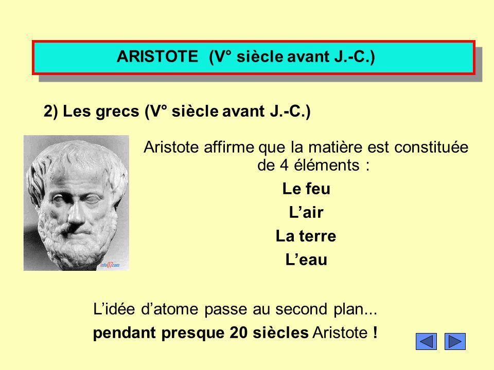 Qui a eu lidée de lexistence de latome? 1) Les grecs (V° siècle avant J.-C.) Démocrite pensait que la matière était composée de minuscules et invisibl