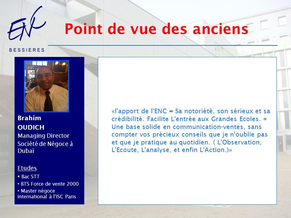 BrahimOUDICH Managing Director Société de Négoce à Dubaï Etudes Bac STT BTS Force de vente 2000 Master négoce international à lISC Paris «l'apport de