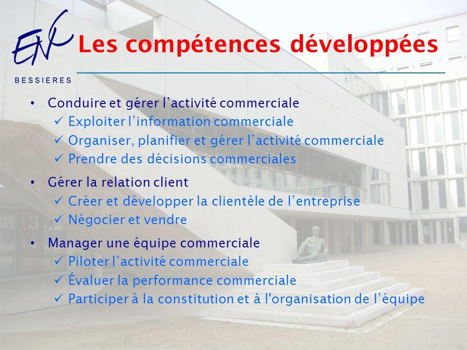 Les compétences développées Conduire et gérer lactivité commerciale Exploiter linformation commerciale Organiser, planifier et gérer lactivité commerc