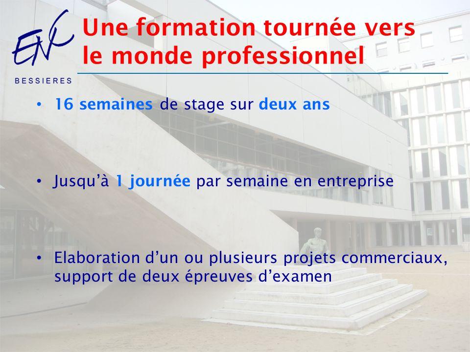 Une formation tournée vers le monde professionnel 16 semaines de stage sur deux ans Jusquà 1 journée par semaine en entreprise Elaboration dun ou plus