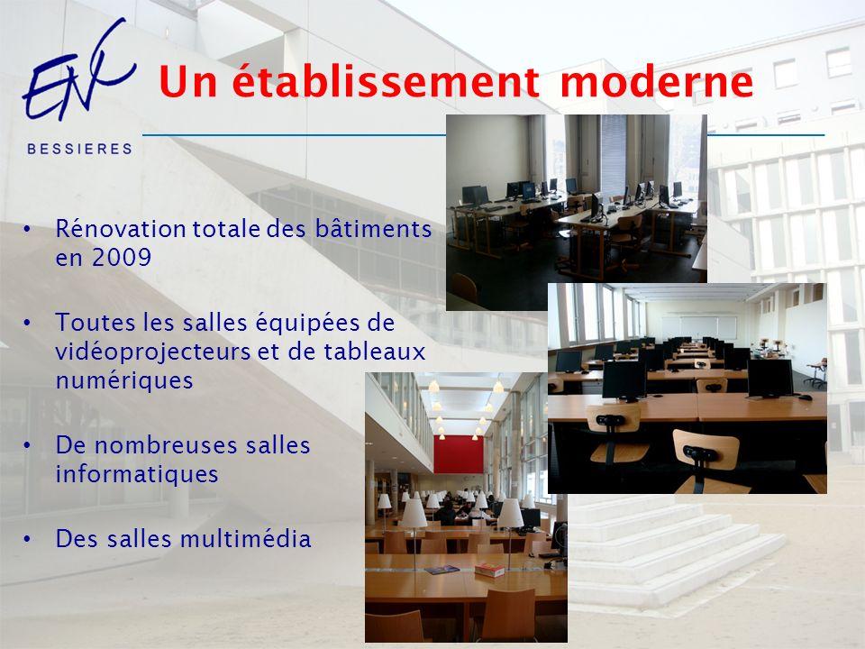 Un établissement moderne Rénovation totale des bâtiments en 2009 Toutes les salles équipées de vidéoprojecteurs et de tableaux numériques De nombreuse