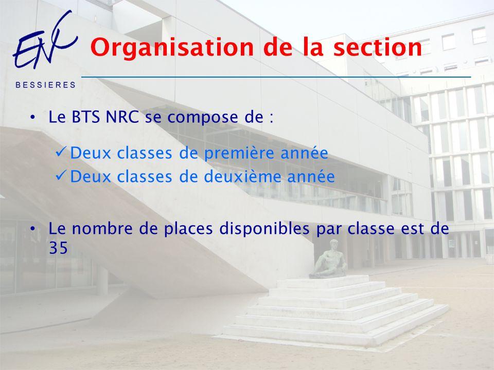 Organisation de la section Le BTS NRC se compose de : Deux classes de première année Deux classes de deuxième année Le nombre de places disponibles pa