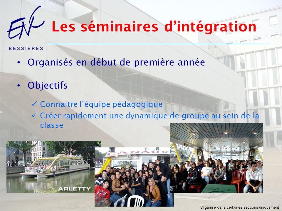 Les séminaires dintégration Organisés en début de première année Objectifs Connaitre léquipe pédagogique Créer rapidement une dynamique de groupe au s