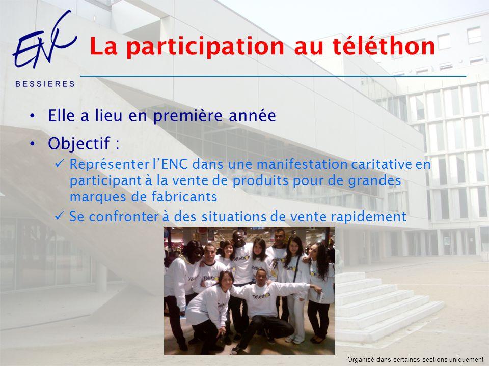 La participation au téléthon Elle a lieu en première année Objectif : Représenter lENC dans une manifestation caritative en participant à la vente de