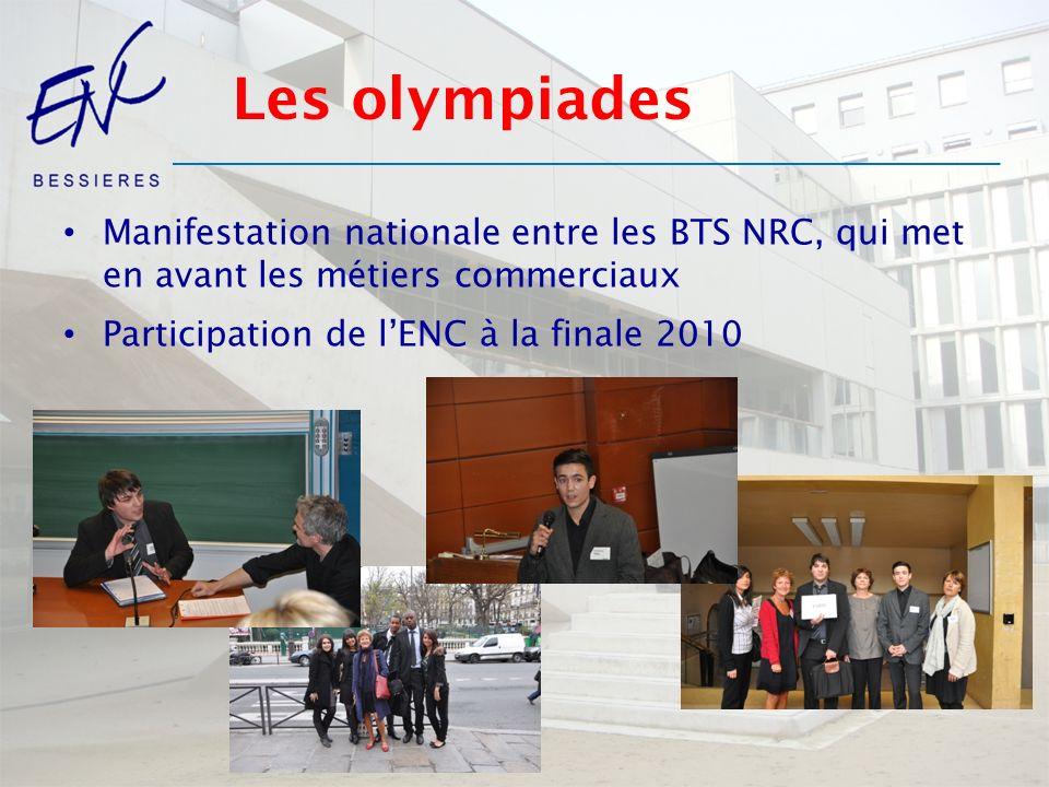 Les olympiades Manifestation nationale entre les BTS NRC, qui met en avant les métiers commerciaux Participation de lENC à la finale 2010