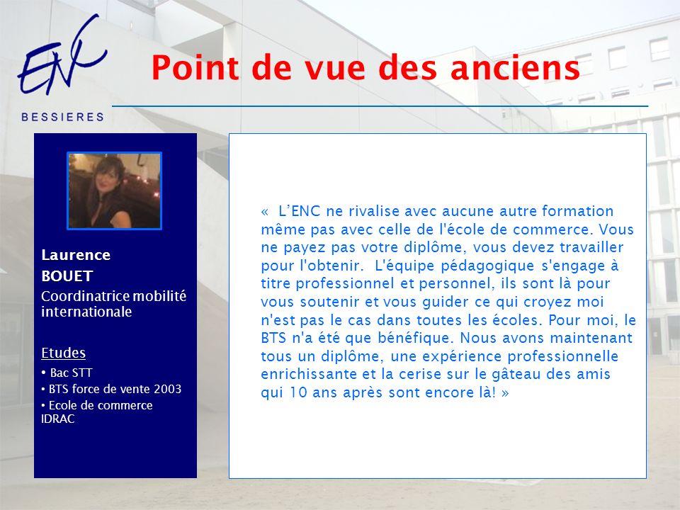 BrahimOUDICH Managing Director Société de Négoce à Dubaï Etudes Bac STT BTS Force de vente 2000 Master négoce international à lISC Paris «l apport de l ENC = Sa notoriété, son sérieux et sa crédibilité.