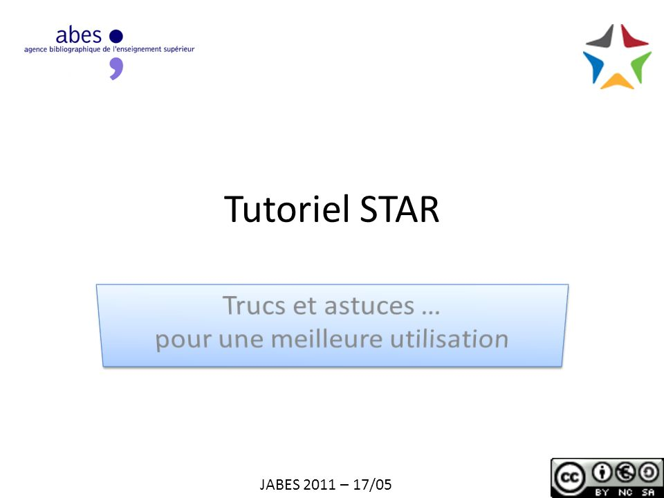 Tutoriel STAR JABES 2011 – 17/05