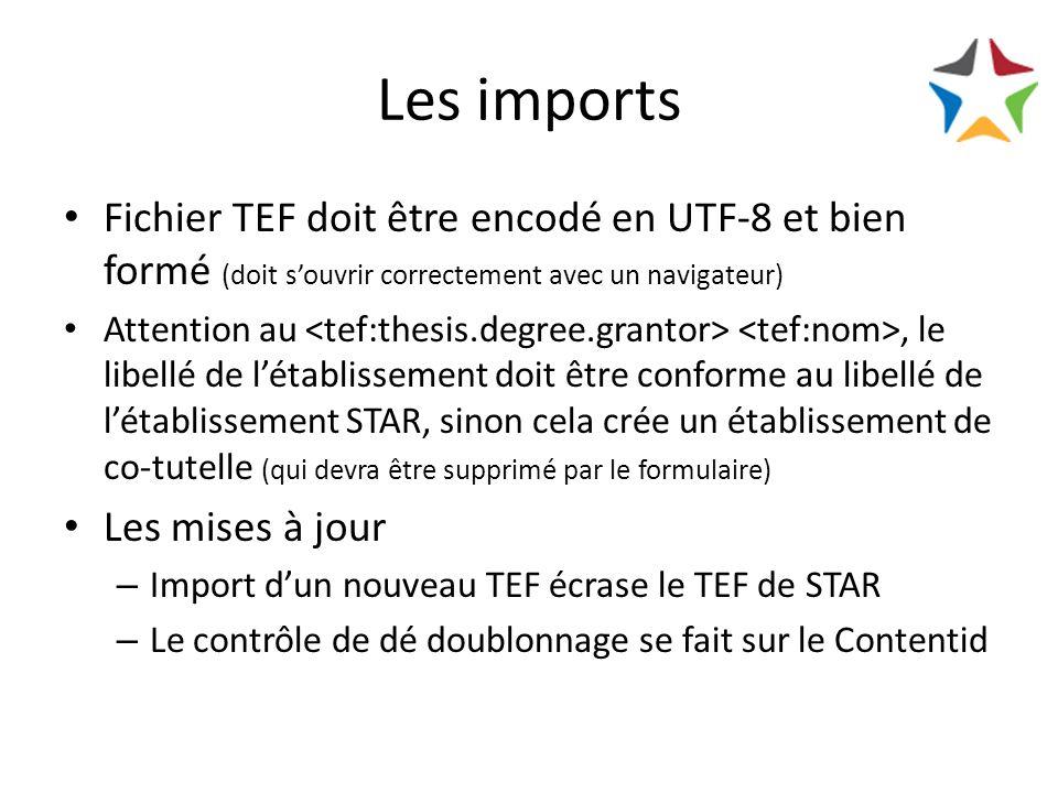 Les imports Fichier TEF doit être encodé en UTF-8 et bien formé (doit souvrir correctement avec un navigateur) Attention au, le libellé de létablissement doit être conforme au libellé de létablissement STAR, sinon cela crée un établissement de co-tutelle (qui devra être supprimé par le formulaire) Les mises à jour – Import dun nouveau TEF écrase le TEF de STAR – Le contrôle de dé doublonnage se fait sur le Contentid
