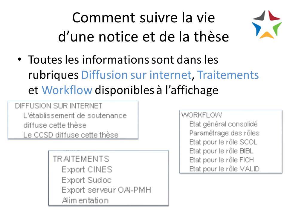 Comment suivre la vie dune notice et de la thèse Toutes les informations sont dans les rubriques Diffusion sur internet, Traitements et Workflow disponibles à laffichage