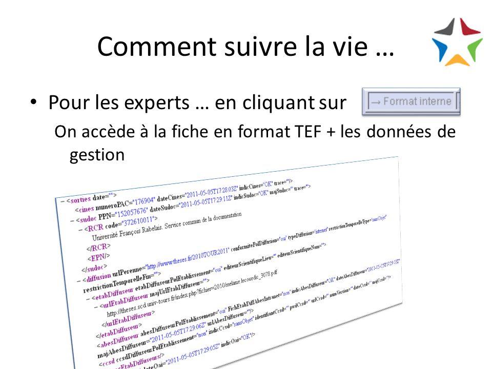 Comment suivre la vie … Pour les experts … en cliquant sur On accède à la fiche en format TEF + les données de gestion