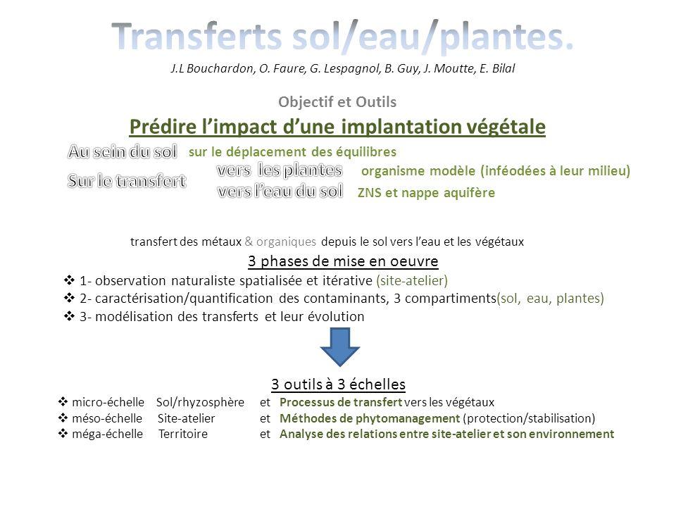 Objectif et Outils Prédire limpact dune implantation végétale sur le déplacement des équilibres organisme modèle (inféodées à leur milieu) ZNS et napp