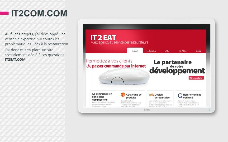 IT2COM.COM Au fil des projets, jai développé une véritable expertise sur toutes les problématiques liées à la restauration. Jai donc mis en place un s