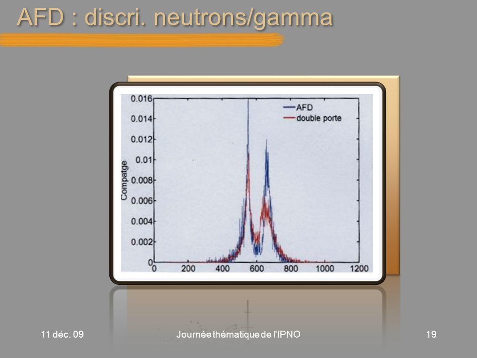 AFD : discri. neutrons/gamma 11 déc. 09Journée thématique de l IPNO19