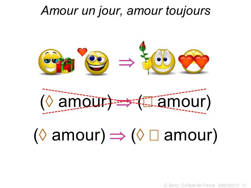 28/03/2013 17 G. Berry, Collège de France Amour un jour, amour toujours ( amour) ( amour)