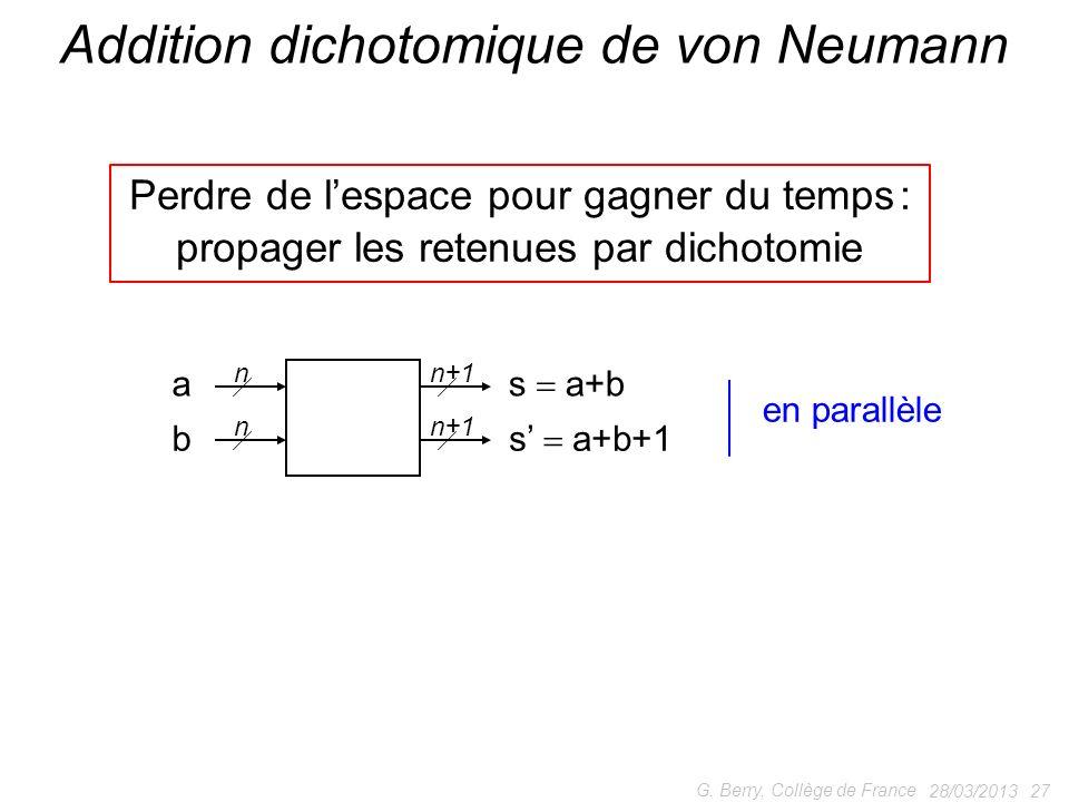 28/03/2013 27 G. Berry, Collège de France Addition dichotomique de von Neumann Perdre de lespace pour gagner du temps : propager les retenues par dich