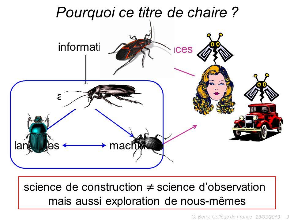 28/03/2013 3 G. Berry, Collège de France Pourquoi ce titre de chaire ? algorithmes information machineslangages science de construction science dobser