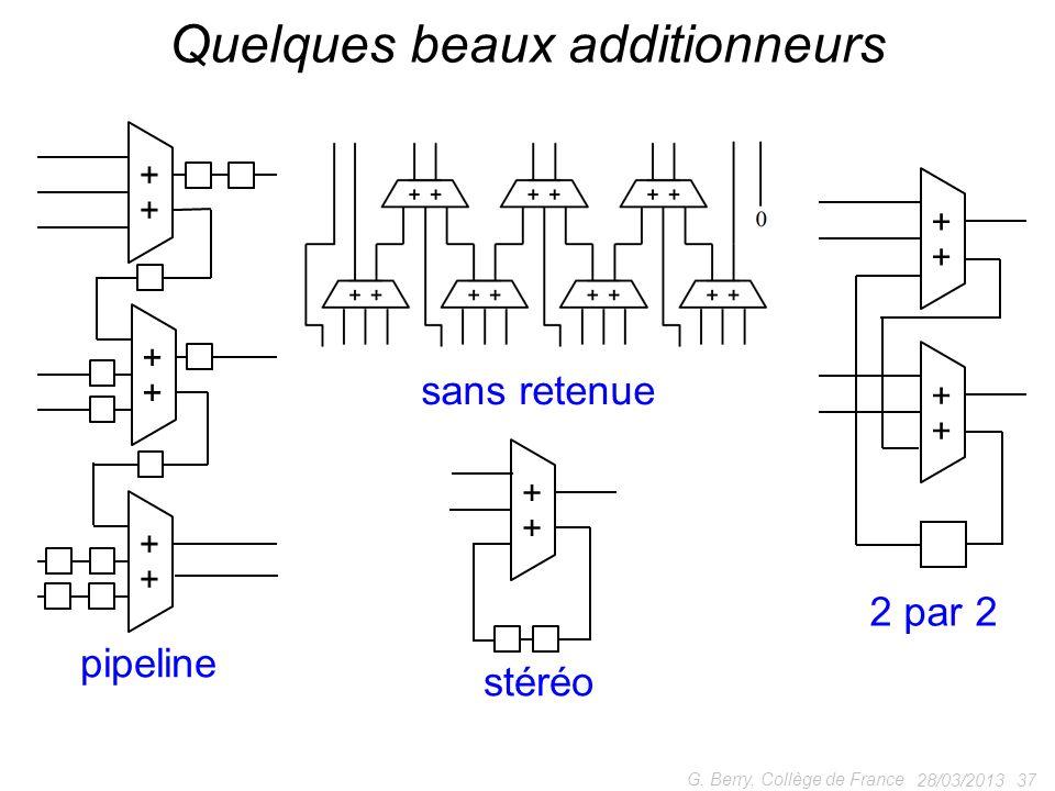 28/03/2013 37 G. Berry, Collège de France Quelques beaux additionneurs + + + + + + pipeline + + stéréo + + + + 2 par 2 sans retenue