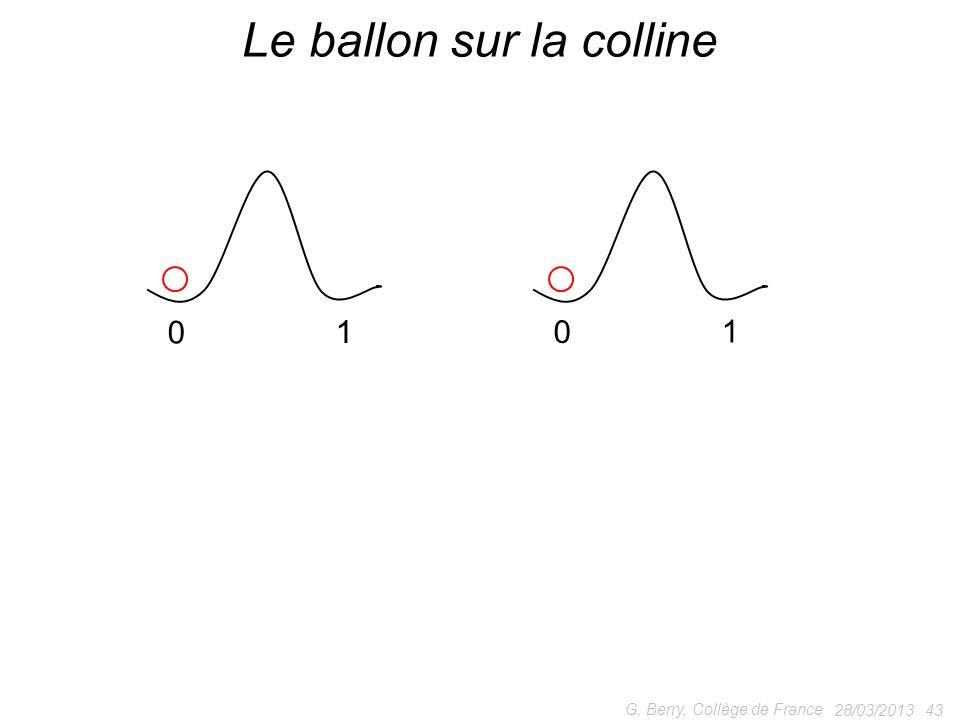 28/03/2013 43 G. Berry, Collège de France Le ballon sur la colline 0 10 1