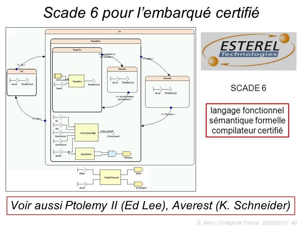 28/03/2013 48 G. Berry, Collège de France Scade 6 pour lembarqué certifié SCADE 6 langage fonctionnel sémantique formelle compilateur certifié Voir au