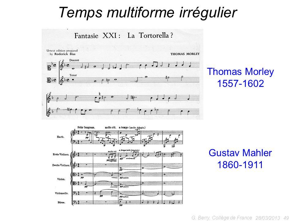 28/03/2013 49 G. Berry, Collège de France Temps multiforme irrégulier Thomas Morley 1557-1602 Gustav Mahler 1860-1911