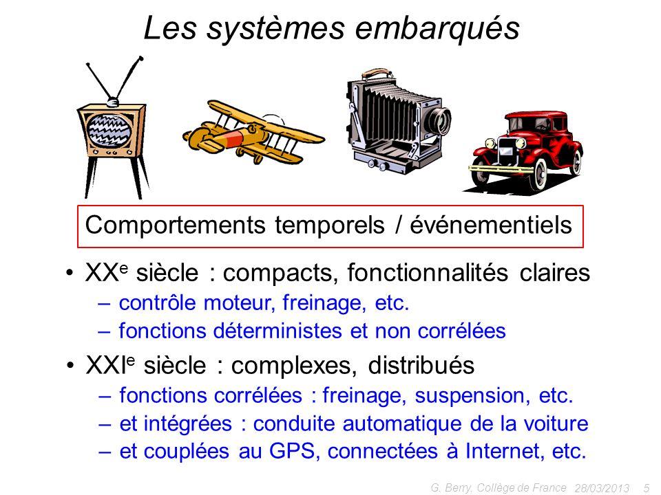 28/03/2013 5 G. Berry, Collège de France Les systèmes embarqués XX e siècle : compacts, fonctionnalités claires –contrôle moteur, freinage, etc. –fonc