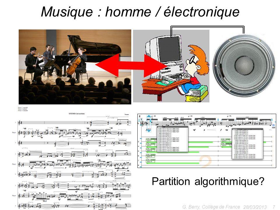 28/03/2013 7 G. Berry, Collège de France Musique : homme / électronique Partition algorithmique?