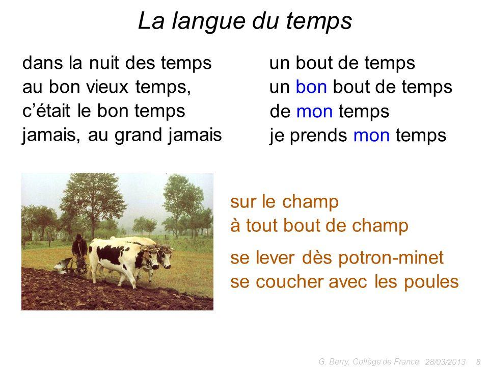 28/03/2013 8 G. Berry, Collège de France La langue du temps sur le champ à tout bout de champ se lever dès potron-minet se coucher avec les poules dan
