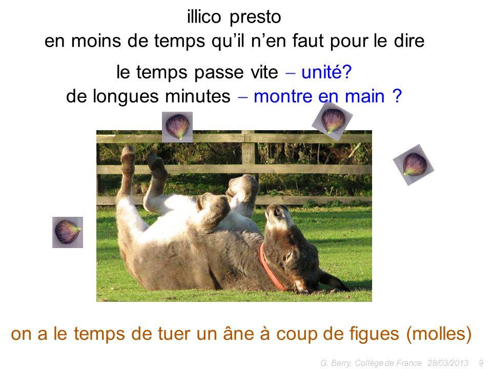 28/03/20139G. Berry, Collège de France illico presto en moins de temps quil nen faut pour le dire on a le temps de tuer un âne à coup de figues (molle