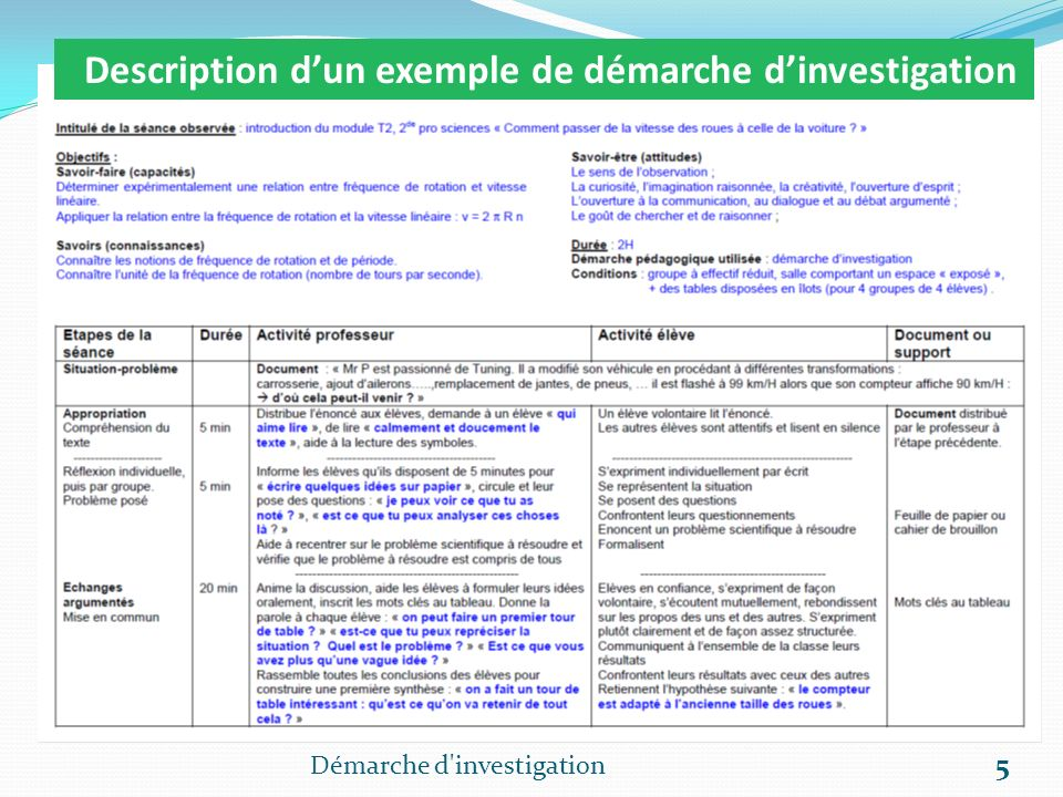 Démarche d'investigation 5 Description dun exemple de démarche dinvestigation
