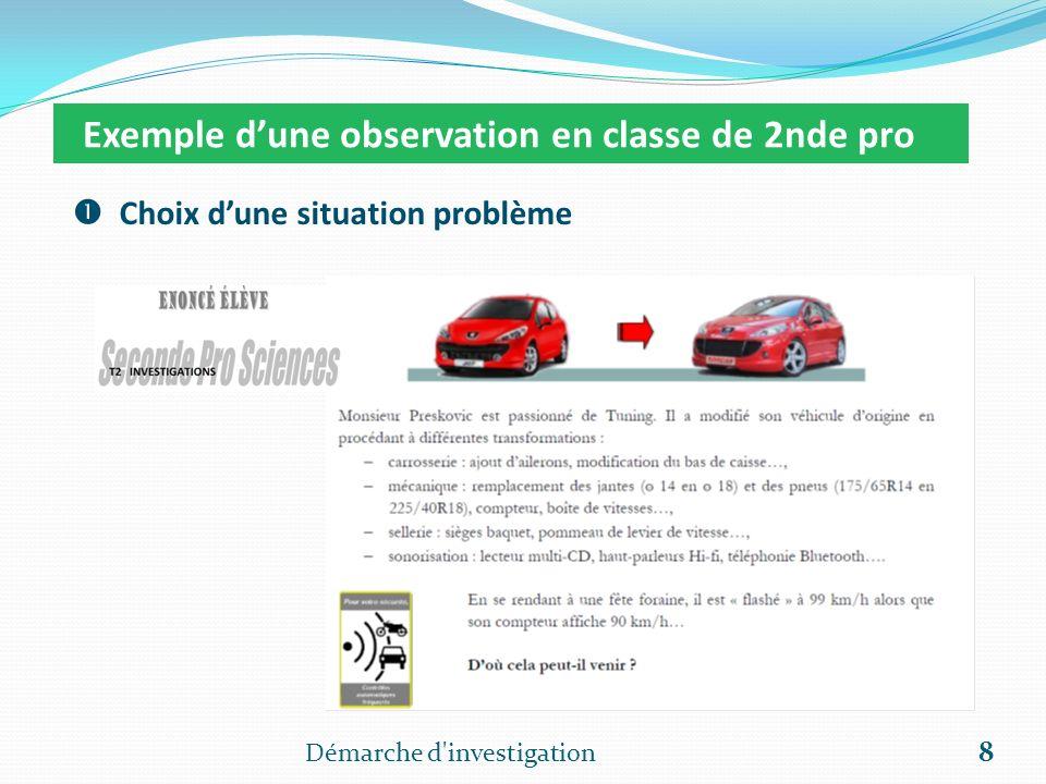 Démarche d'investigation 8 Exemple dune observation en classe de 2nde pro Choix dune situation problème