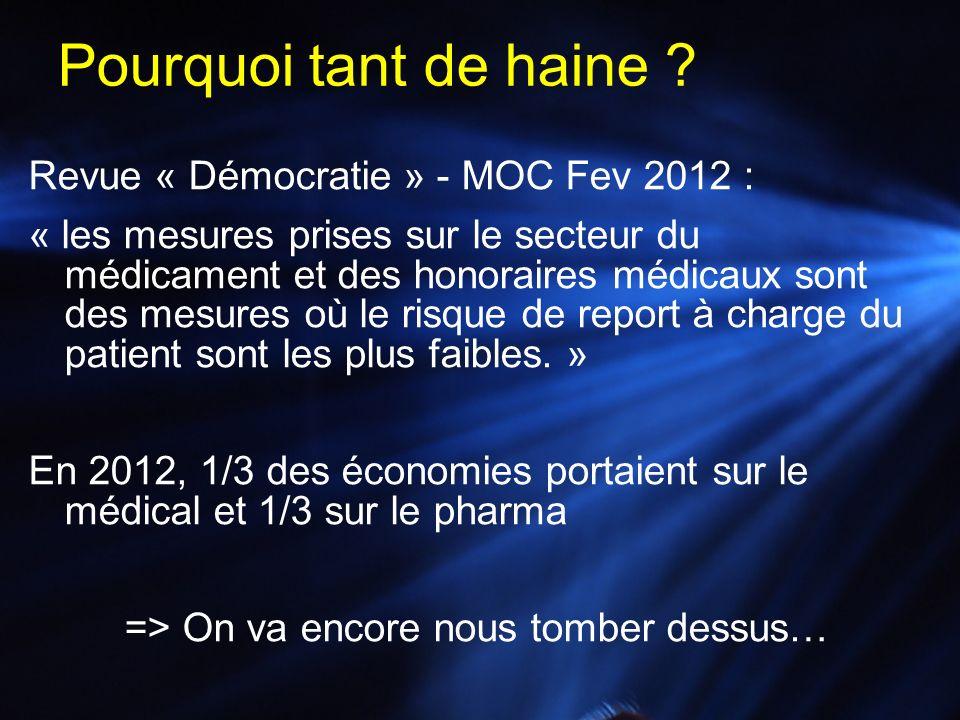 Revue « Démocratie » - MOC Fev 2012 : « les mesures prises sur le secteur du médicament et des honoraires médicaux sont des mesures où le risque de re