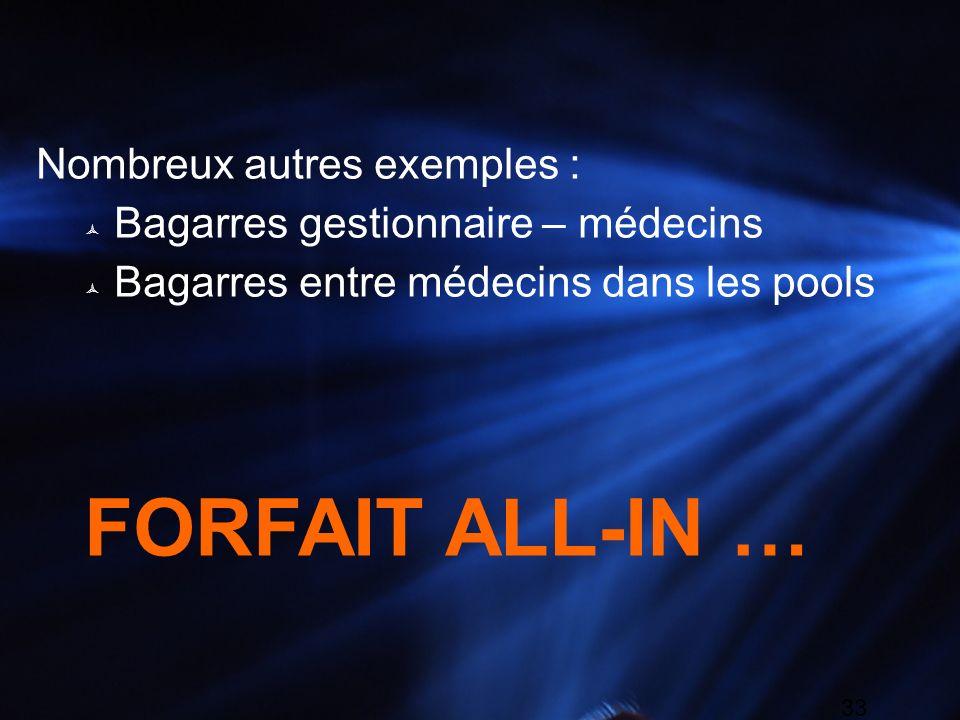 33 Nombreux autres exemples : Bagarres gestionnaire – médecins Bagarres entre médecins dans les pools FORFAIT ALL-IN …