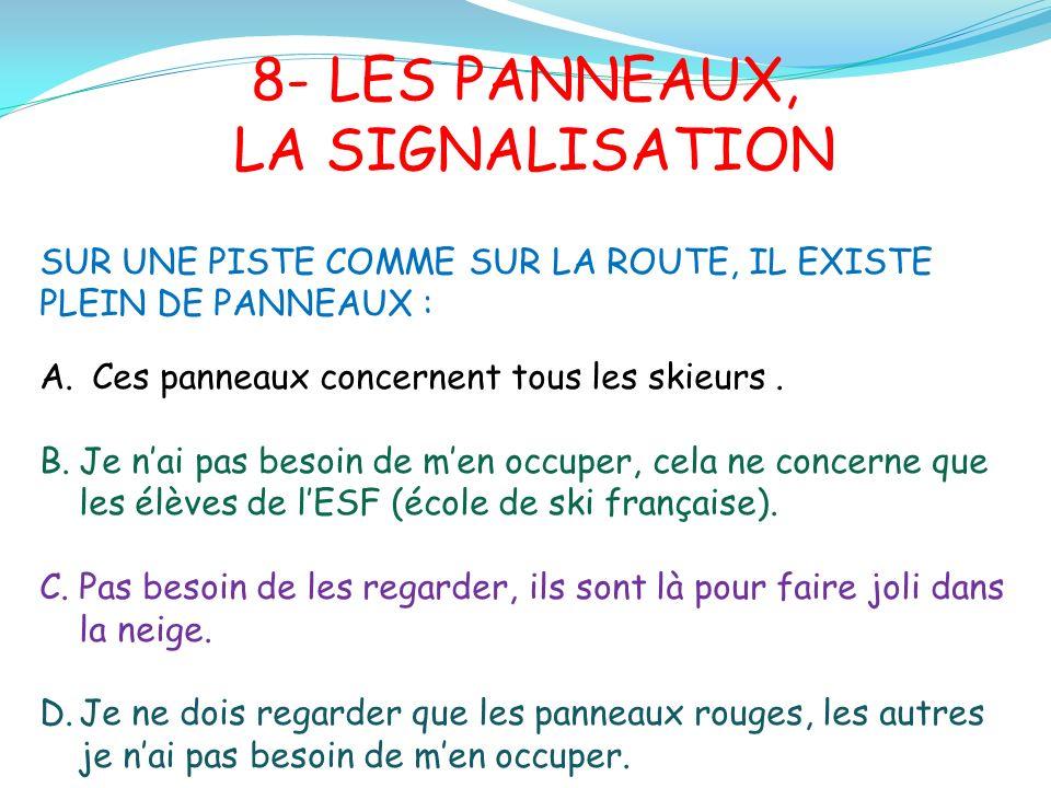 8- LES PANNEAUX, LA SIGNALISATION SUR UNE PISTE COMME SUR LA ROUTE, IL EXISTE PLEIN DE PANNEAUX : A.Ces panneaux concernent tous les skieurs.