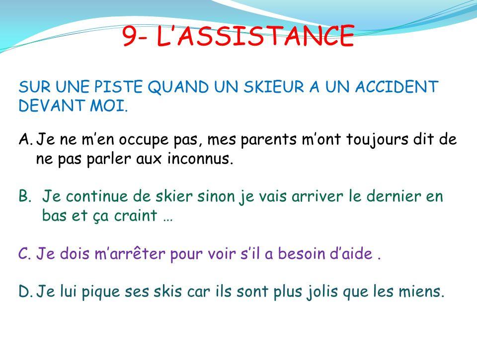 9- LASSISTANCE SUR UNE PISTE QUAND UN SKIEUR A UN ACCIDENT DEVANT MOI.