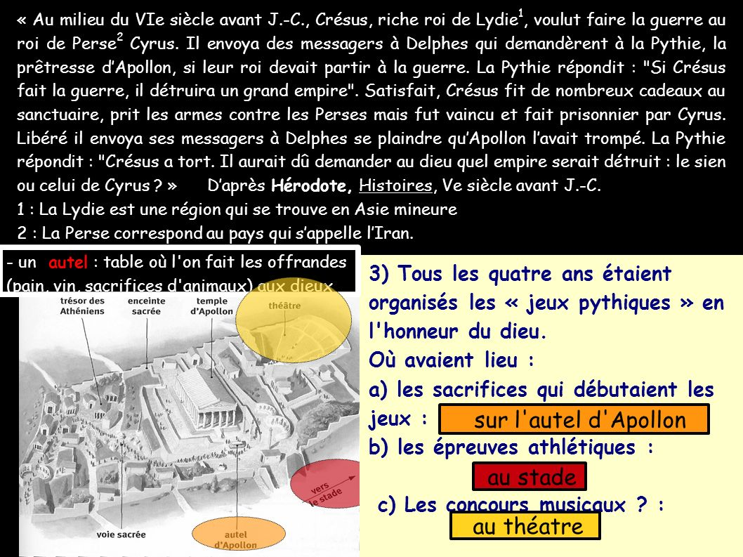 « Au milieu du VIe siècle avant J.-C., Crésus, riche roi de Lydie 1, voulut faire la guerre au roi de Perse 2 Cyrus. Il envoya des messagers à Delphes