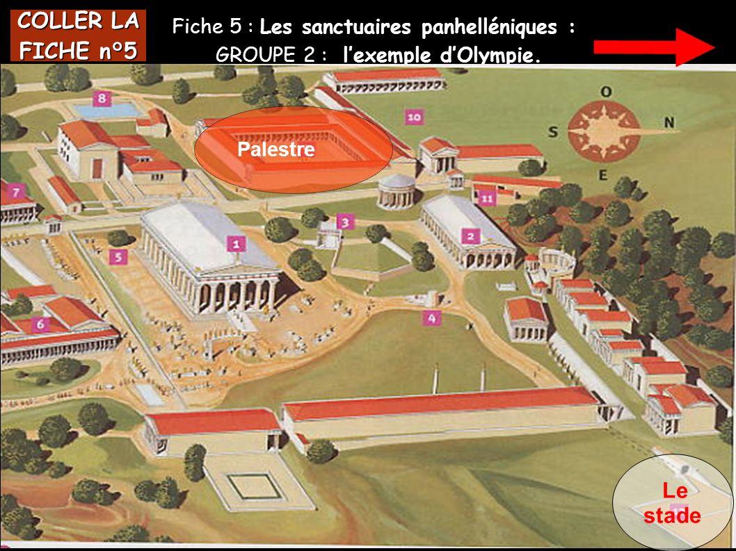 Fiche 5 : Les sanctuaires panhelléniques : GROUPE 2 : lexemple dOlympie. COLLER LA FICHE n°5 Palestre Le stade
