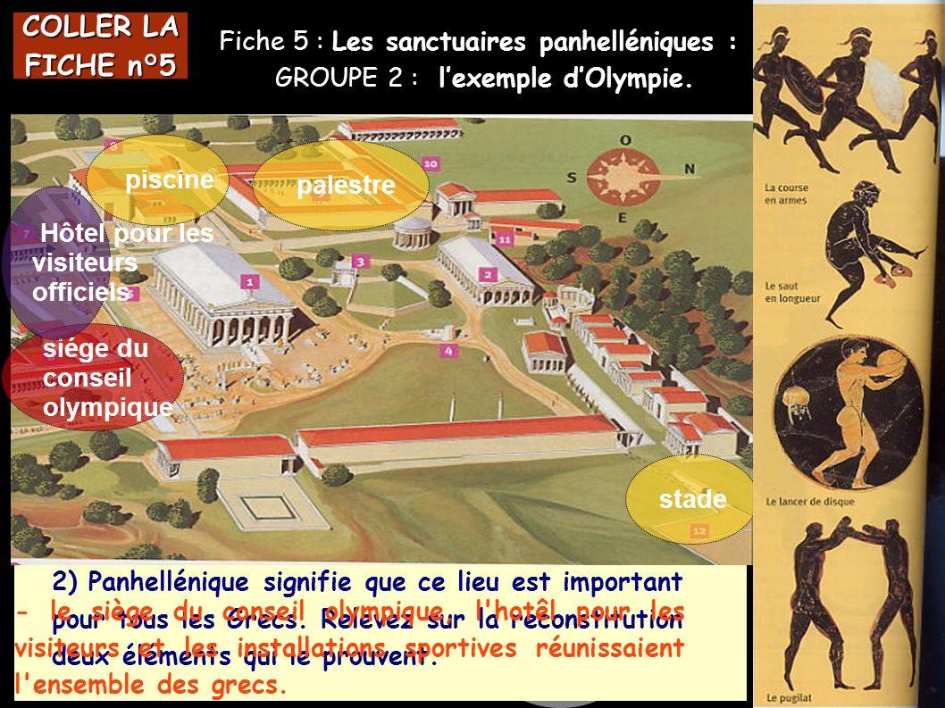 Fiche 5 : Les sanctuaires panhelléniques : GROUPE 2 : lexemple dOlympie. COLLER LA FICHE n°5 L 1) A quel dieu ce sanctuaire est-il consacré ? 2) Panhe